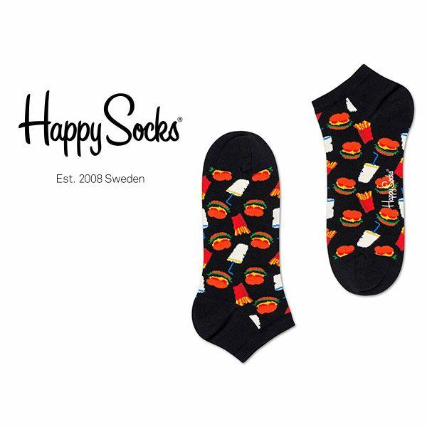 【ポイント20倍】HappySocksハッピーソックスHAMBURGER(ハンバーガー)スニーカー丈綿混ソックス靴下ユニセックスメンズ&レディスプレゼント贈答ギフト1A127007