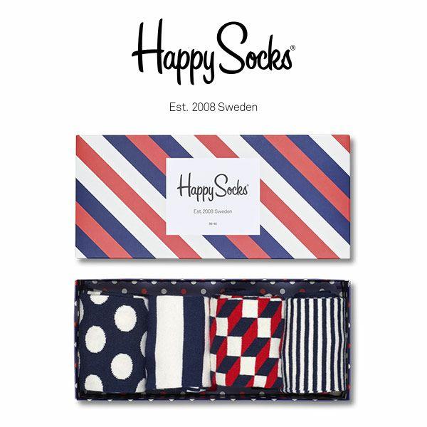 【送料無料+ポイント20倍】HappySocksハッピーソックスSTRIPE(ストライプ)4足組ギフトセット綿混クルー丈ソックス靴下GIFTBOXユニセックスメンズ&レディスプレゼント贈答ギフト1A147015
