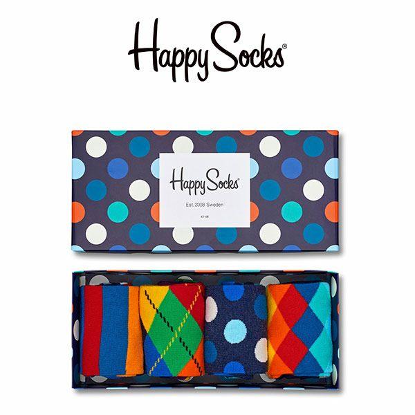 【送料無料+ポイント20倍】HappySocksハッピーソックスBIGDOTMIX(ビッグドットミックス)4足組ギフトセット綿混クルー丈ソックス靴下GIFTBOXユニセックスメンズ&レディスプレゼント贈答ギフト1A147016