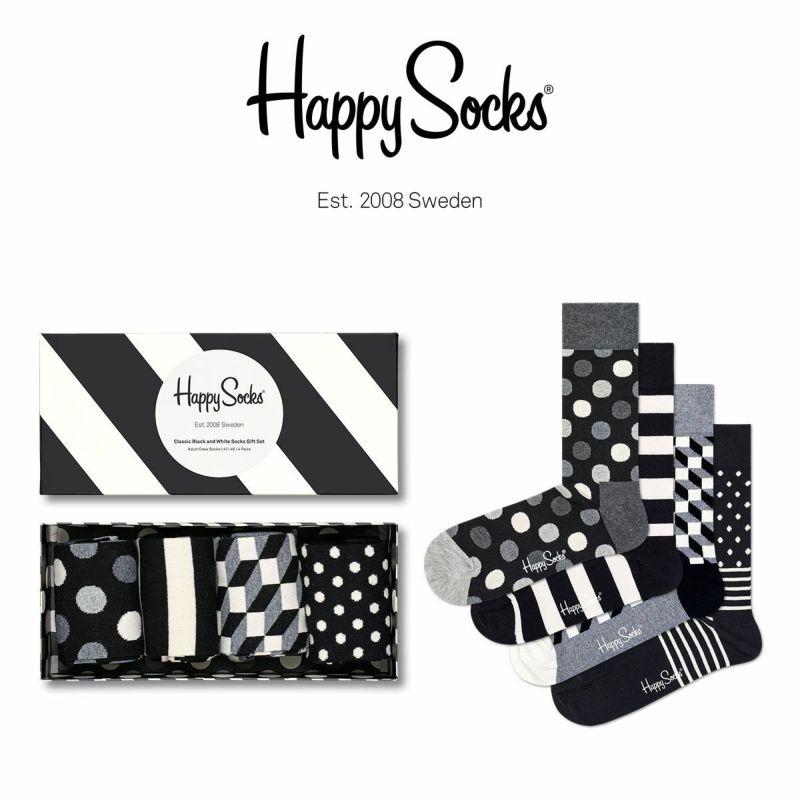 HappySocksハッピーソックスBLACKANDWHITE(ブラックアンドホワイト)4足組ギフトセット綿混クルー丈ソックス靴下GIFTBOXユニセックスレディース女性婦人プレゼントギフト11140003