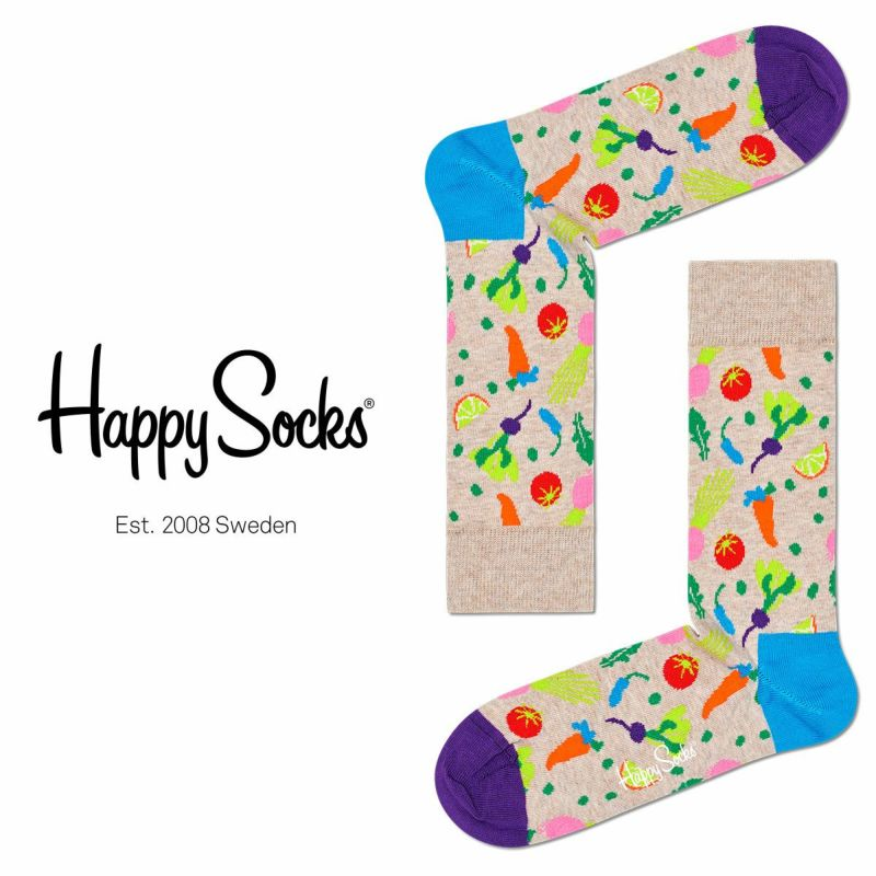 HappySocksハッピーソックスVEGGIE(ベジー)クルー丈綿混ソックス靴下ユニセックスメンズ&レディスプレゼント贈答ギフト10211023