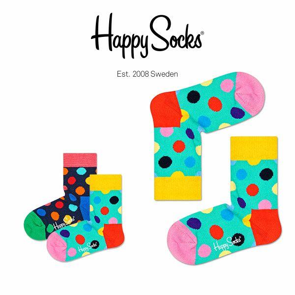 【ポイント20倍】HappySocksハッピーソックスBIGDOT(ビッグドット)子供クルー丈綿混ソックス靴下KIDSジュニアキッズ12113004
