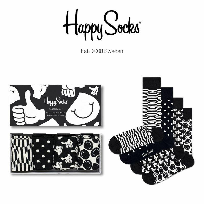 HappySocksハッピーソックスCLASSICBLACK&WHITE(クラシックブラックアンドホワイト)4足組ギフトセット綿混クルー丈ソックス靴下GIFTBOXユニセックスレディース女性婦人プレゼントギフト11147031