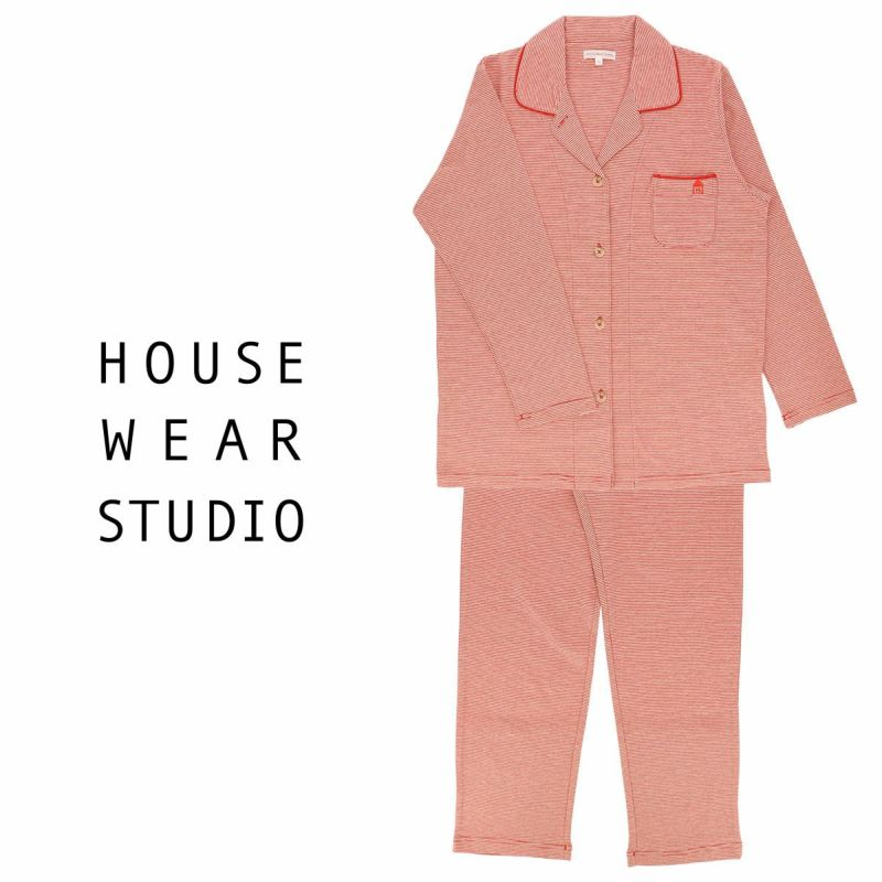 HOUSEWEARSTUDIOハウスウェアスタジオレディースパジャマコットン100%長袖パンツ細ボーダーMサイズ73370812