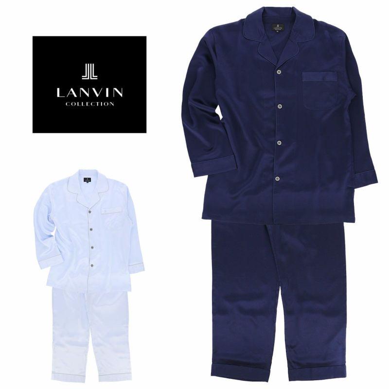 LANVINランバンメンズパジャマシルク100%長袖長丈パンツMサイズ73044366