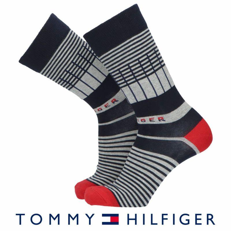 TOMMYHILFIGERトミーヒルフィガーボーダー柄クルー丈メンズカジュアルソックス靴下男性紳士プレゼントギフトバレンタイン02552601