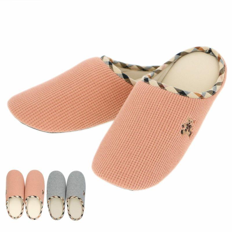 DAKSダックス日本製抗菌防臭消臭加工ワッフルベア刺繍ルームシューズスリッパレディースルームソックス靴下女性婦人プレゼントギフト03367552