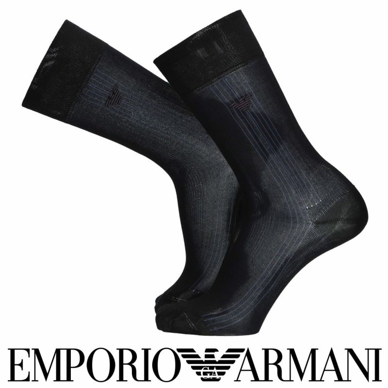 EMPORIOARMANIエンポリオアルマーニ抗菌防臭エジプト綿使用イーグルストライプ柄クルー丈メンズビジネスソックス靴下男性紳士プレゼントギフト公式ショップ正規ライセンス商品02312476
